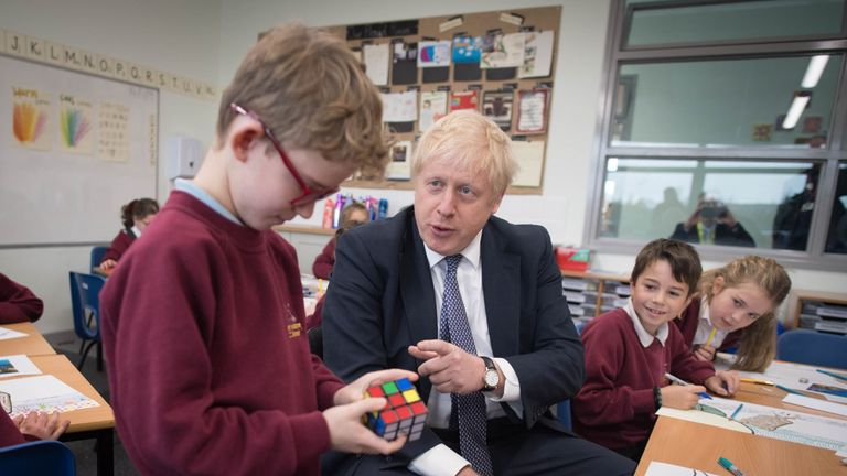 Boris Johnson during a visit to West Monkton CEVC Primary School in Bathpool, Taunton, Somerset
