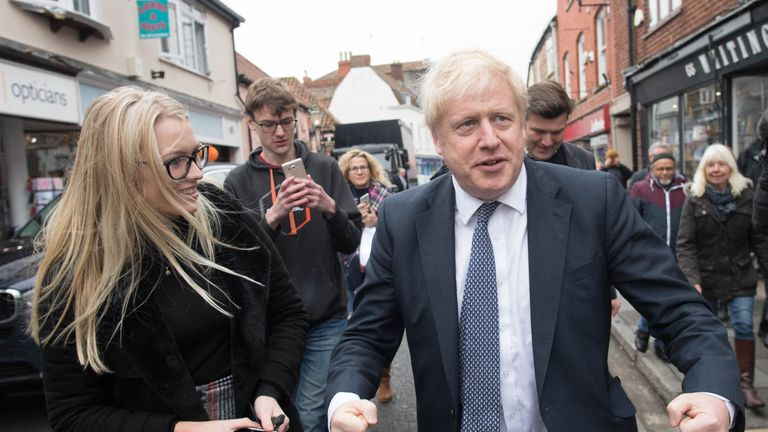 Boris Johnson on a walkabout in the Wells constituency, Somerset