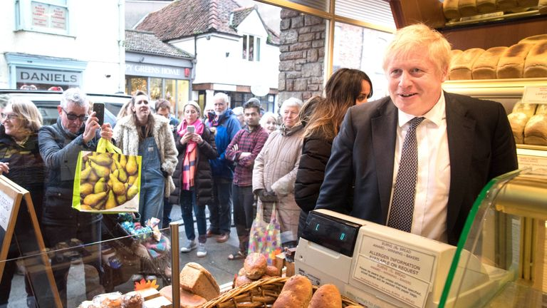 Boris Johnson in Burns the Bread bakery, during a walkabout, in the Wells constituency, Somerset