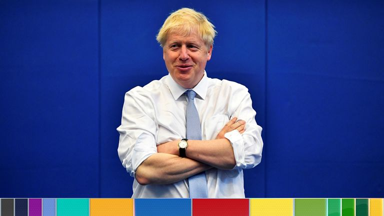 Conservative MP and leadership contender Boris Johnson reacts during his visit to the Thames Valley Police Training Centre in Reading, west of London on July 3, 2019