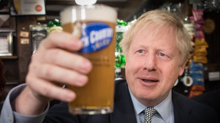 Boris Johnson in the Lych Gate Tavern, Wolverhampton