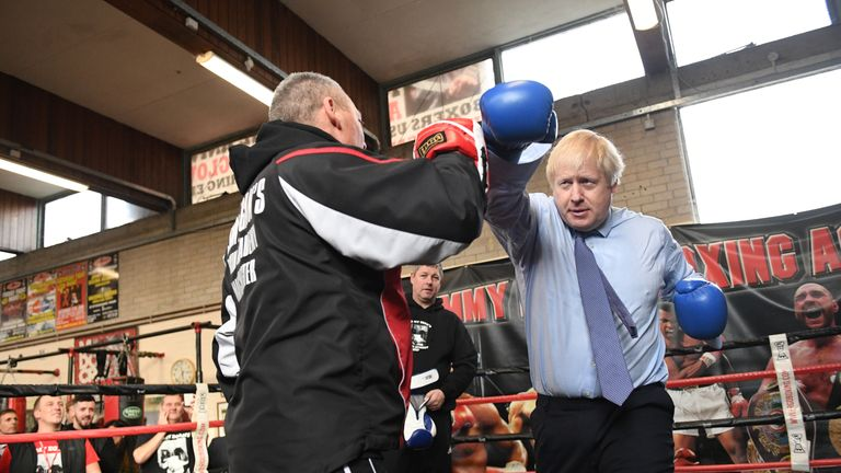 Boris Johnson during a visit to Jimmy Egan's Boxing Academy in Wythenshawe