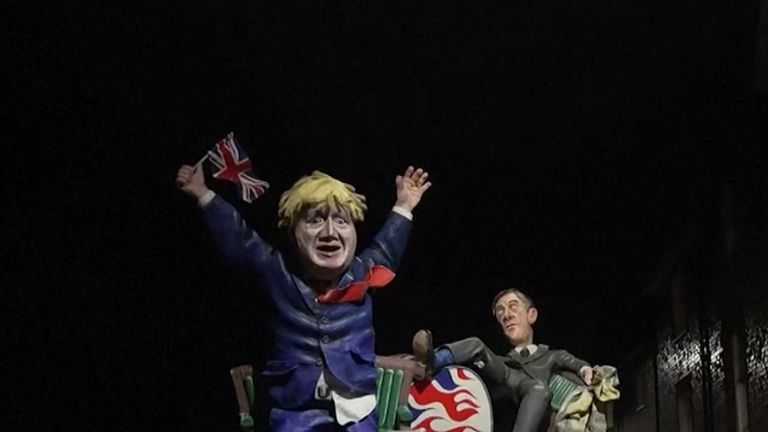 Boris Johnson and Jacob Rees-Mogg effigies are paraded at Lewes Bonfire Night