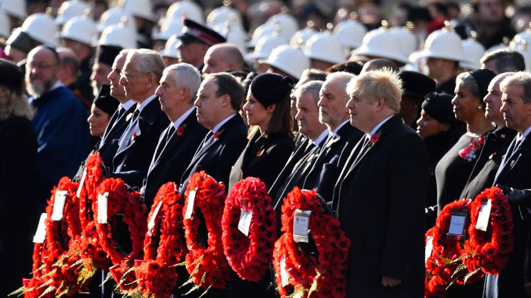 Boris Johnson and Jeremy Corbyn at Remembrance Sunday commemorations