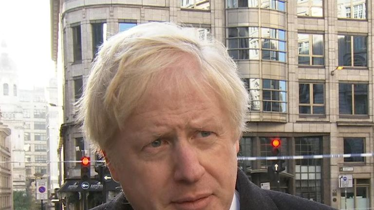 Boris Johnson attends the scene of a terror attack on London Bridge