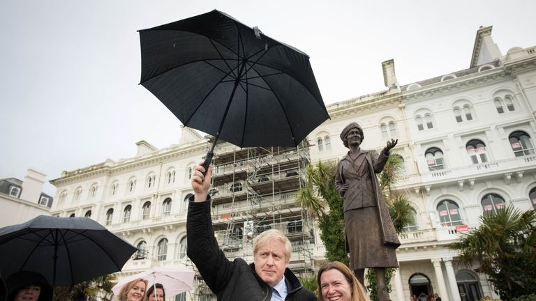 Boris Johnson visited the statue with Plymouth Conservative candidate Rebecca Smith
