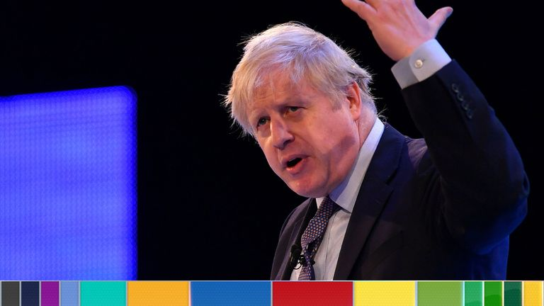 Boris Johnson delivers a speech at the CBI conference