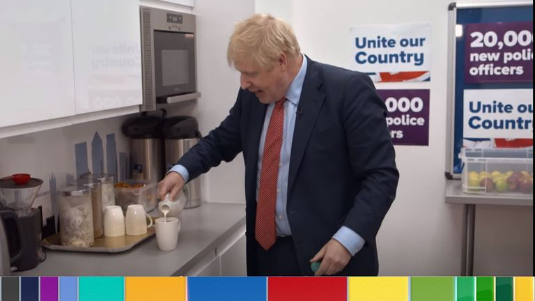 Boris Johnson making tea. Pic: Conservative Party