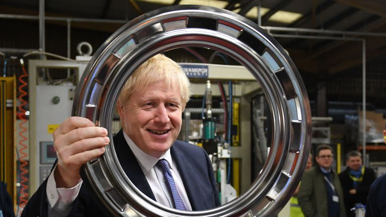 Boris Johnson during a visit to washing machine manufacturer Ebac in Newton Aycliffe
