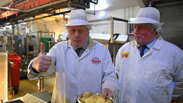 Mr Johnson visited a crisp factory in Belfast on day two of the campaign