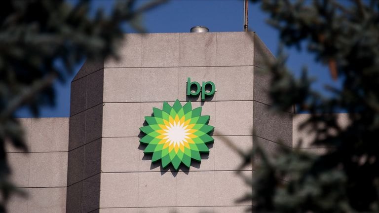 ANCHORAGE, AK - AUGUST 27: A view of the BP logo near the top of the BP Exploration Alaska headquarters on August 27, 2019 in Anchorage, Alaska. BP Alaska announced Tuesday morning that it will sell its entire business in the state of Alaska to Hilcorp Alaska, as it works to divest $10 billion worldwide. (Photo by Lance King/Getty Images)