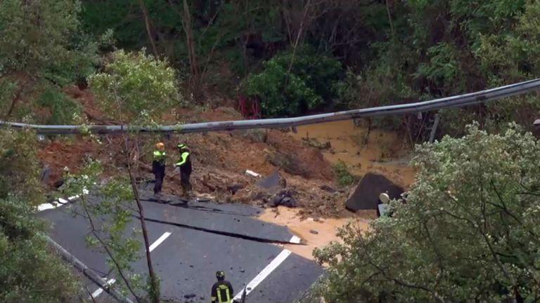 Bridge collapse near Savona