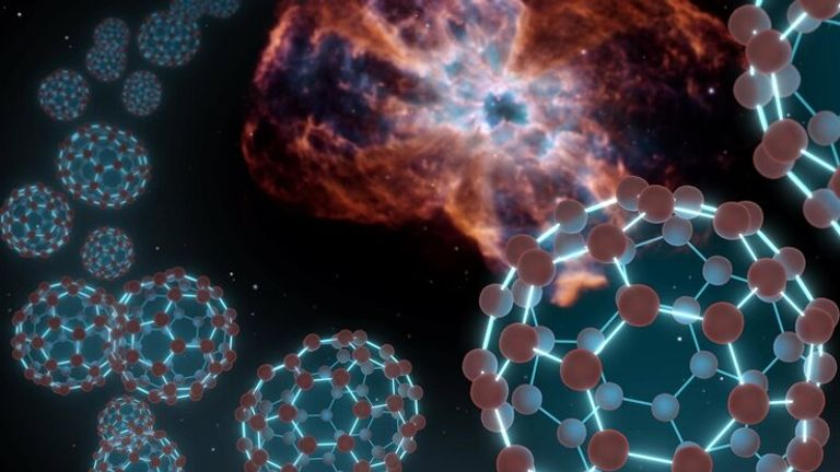 "An artist's conception showing spherical carbon molecules known as buckyballs coming out from a planetary nebula — material shed by a dying star. Researchers at the University of Arizona have now created these molecules under laboratory conditions thought to mimic those in their ""natural"" habitat in space. Credit: NASA/JPL-Caltech"