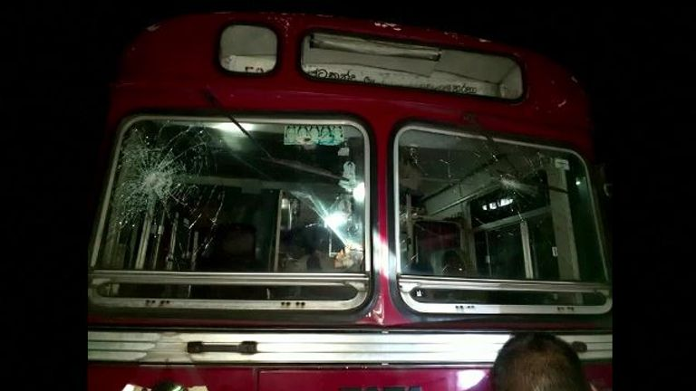 The front of the bus was damaged during the attack