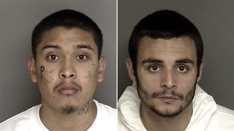 Jonathan Salazar, 20, and Santos Fonseca, 21, escaped Monterey County Jail on Sunday morning. Pic: Monterey County Sheriff