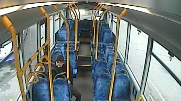 Griffiths on the bus after he had killed Ellie. Pic: Wiltshire Police