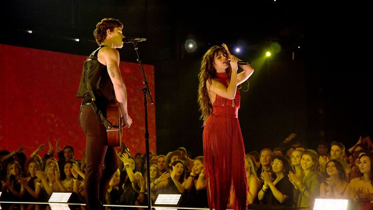 Camila Cabello and Shawn Mendes perform at the American Music Awards