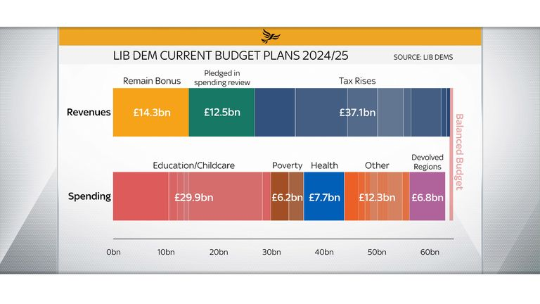The Liberal Democrats plan a big increase in spending partly paid for by a 'remain bonus'