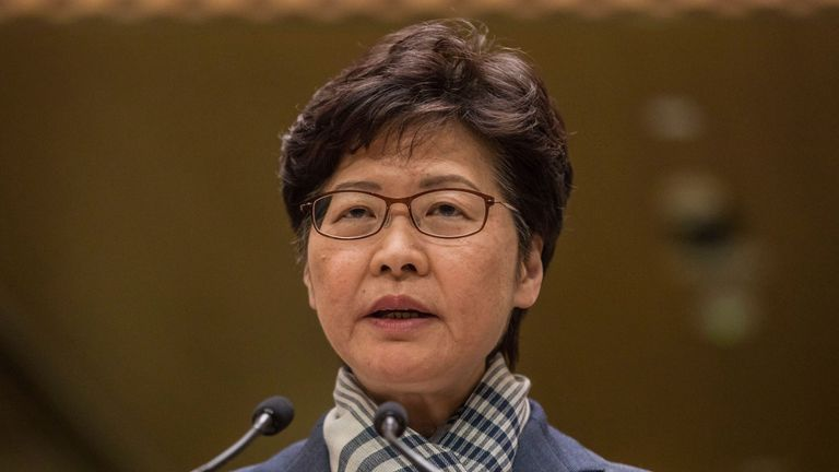 Hong Kong chief executive Carrie Lam speaks during a press conference