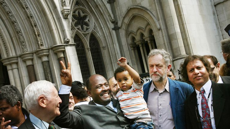 Chagos reisdents expelled  from the islands to make way for a US airbase celebrate outside The High Court in 2007 with Jeremy Corbyn