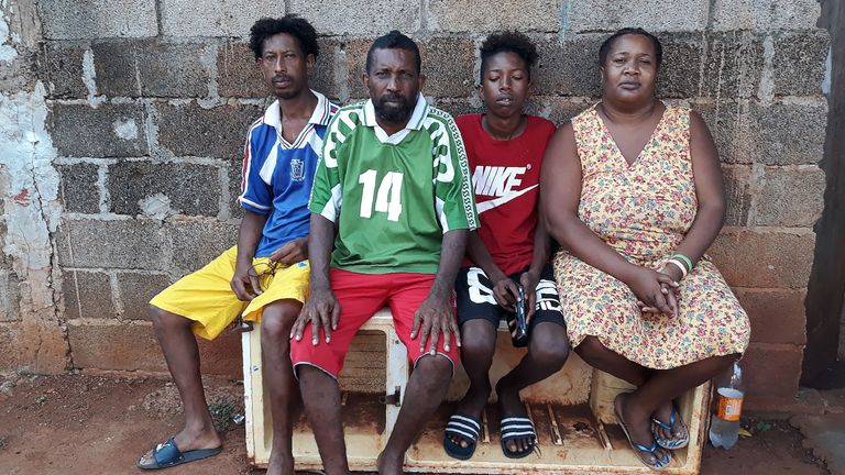 The Voldrin family, one of those exiled from the Chagos islands, in front of their home in Tombeau Bay after the UN told Britain to give up control of the islands
