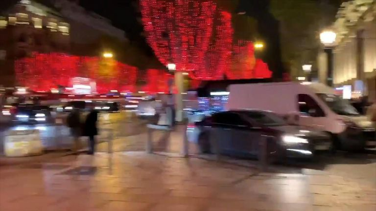 Christmas cheer was restored to the Champs-Elysees following a power cut in Paris.