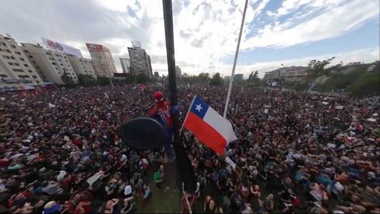 A man dressed as Spiderman attended the anti-government protests in Chile.