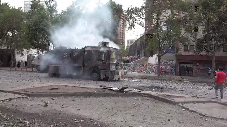 Chile protests Water cannon used on camera