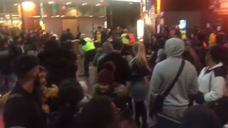videograb showing police officers inside the Star City cinema in Birmingham