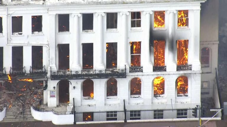 Fire at the Claremont hotel in Eastbourne, Sussex
