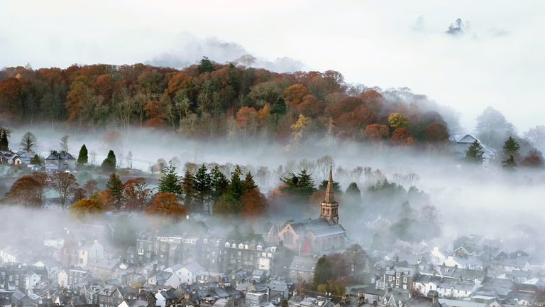 Mist covers the town of Keswick in the Lake District where temperatures dipped to minus 2 C (28.4F)