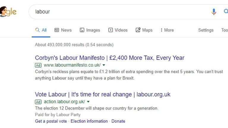 A website run by the Conservative Party has the top slot for the search 'Labour' on Google