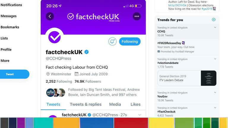 The Conservative Campaign Headquarters press office changed its Twitter name to fact check UK
