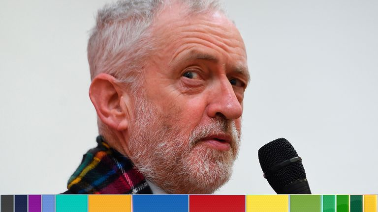 Britain's Labour Party leader Jeremy Corbyn speaks as he visits the Heart of Scotstoun community centre in Glasgow, on November 13, 2019 as he campaigns for the 2019 general election. - Britain goes to the polls on December 12 to vote in a pre-Christmas general election. (Photo by ANDY BUCHANAN / AFP) (Photo by ANDY BUCHANAN/AFP via Getty Images)