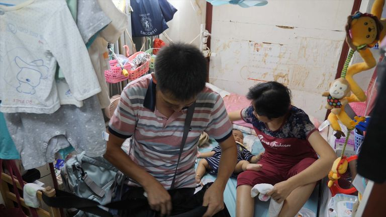 The family living in a Hong Kong coffin home