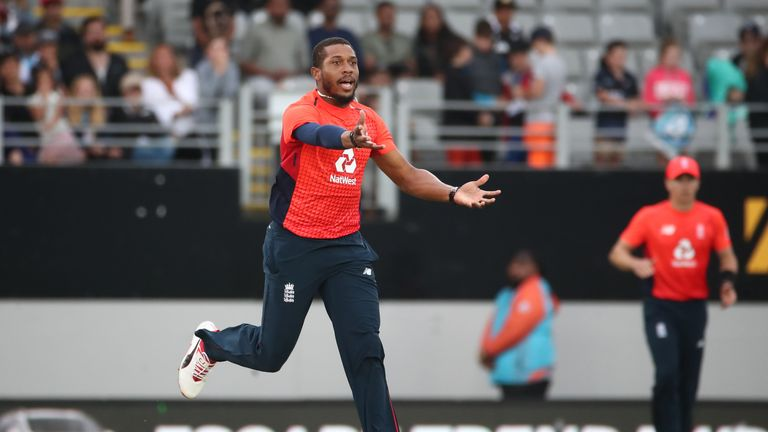 Chris Jordan of England reacts to his bowling in the Super Over
