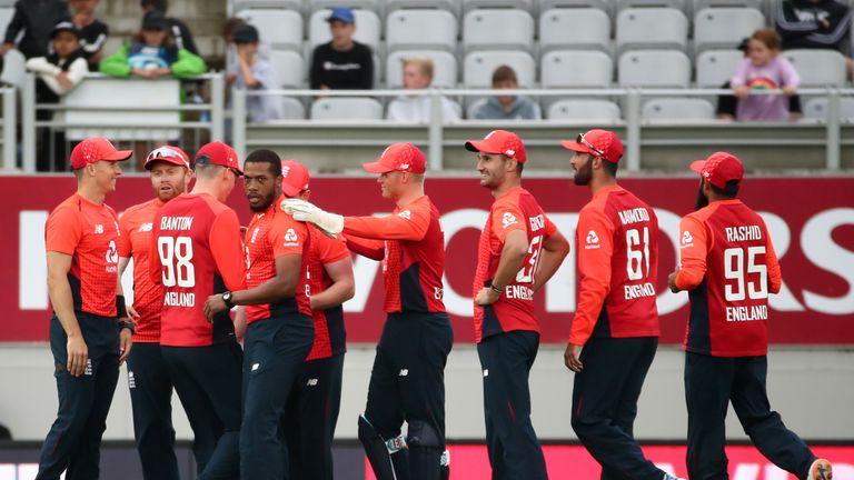 England celebrate a wicket