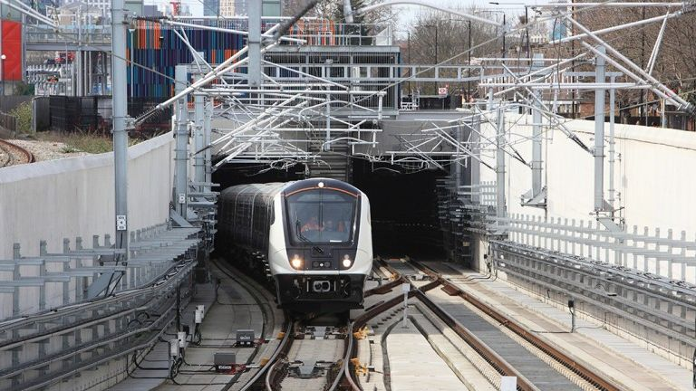 A test train runs on the Elizabeth line as new systems are introduced across the network. Pic: Crossrail Ltd