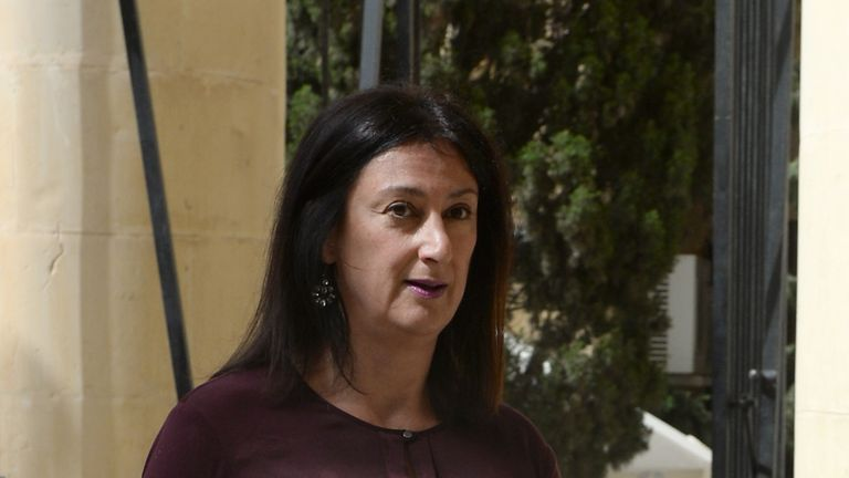 Daphne Caruana Galizia pictured in Malta in 2017