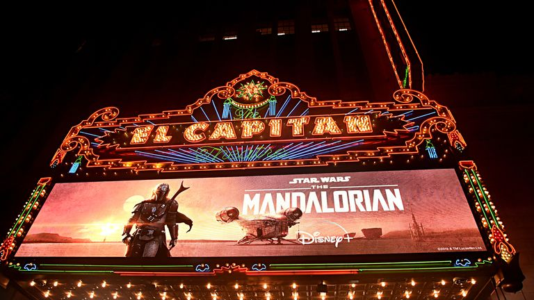 "A view of the atmosphere at the premiere of Lucasfilm's first-ever, live-action series, ""The Mandalorian,"""