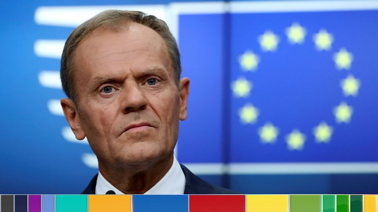 European Council President Donald Tusk holds a news conference after a European Union leaders summit