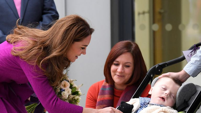 Kate meet a child during the opening of The Nook Children Hospice earlier this month