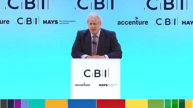 Boris Johnson addresses the CBI