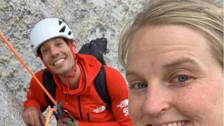Emily Harrington (R) is a professional climber
