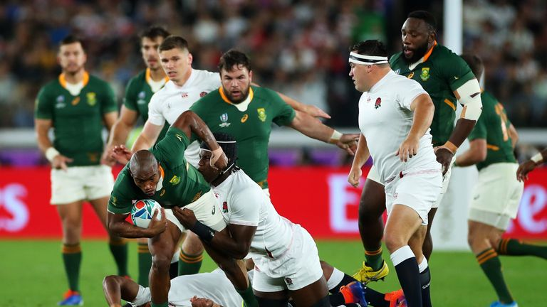 England's Kyle Sinckler was taken off after tackling South Africa's Maro Itoje in the first three minutes of the game
