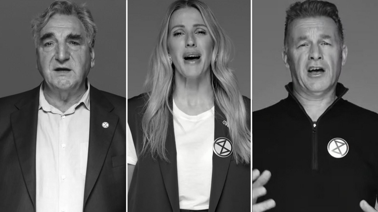 Jim Carter, Ellie Goulding and Chris Packham all appear in the video. Pic: Exctinction Rebellion
