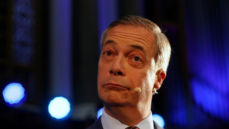 Brexit Party leader Nigel Farage speaks at an event, where the Brexit Party is introducing 600 parliamentary candidates running in the general election.