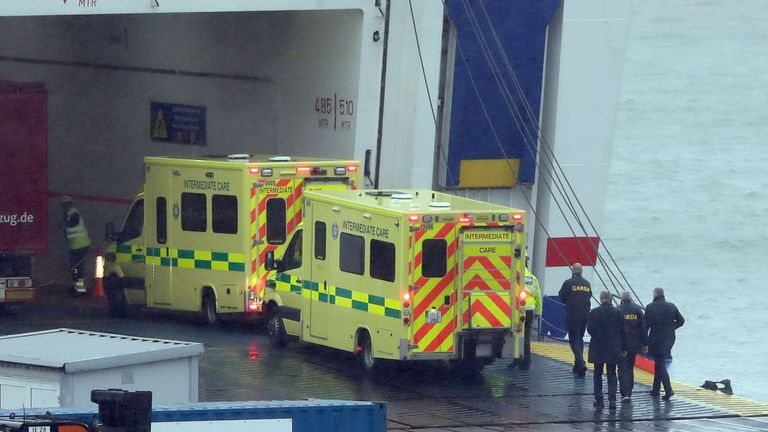 Emergency personnel board the vessel at Rosslare