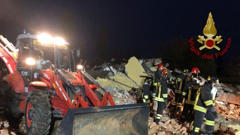 One of the dead firefighters was buried under rubble. .Pic: Vigili del Fuoco