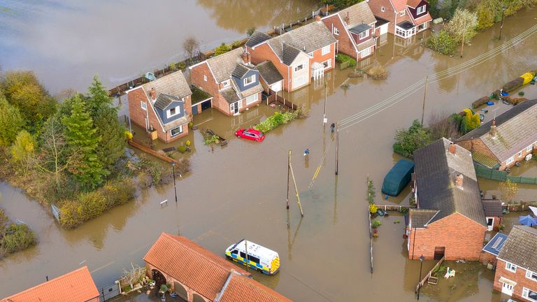 DONCASTER, ENGLAND - NOVEMBER 12: Flood water covers the roads and part of local houses in the Fishlake area on November 12, 2019 in Doncaster, England. More heavy rain is expected in parts of the Midlands and Yorkshire as the Environment Agency issues 30 flood warnings and five severe warnings on the River Don in South Yorkshire. The prime minister is chairing a meeting of the government's emergency committee later today. (Photo by Christopher Furlong/Getty Images)